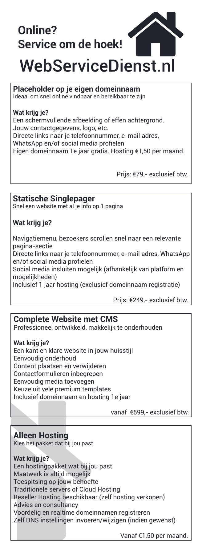 webservicedienst flyer voor